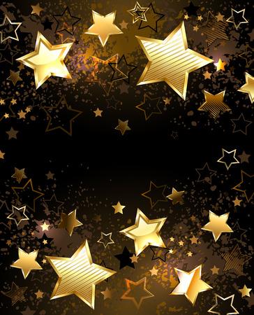 Fondo negro decorado con la textura y las estrellas de oro Foto de archivo - 27375693