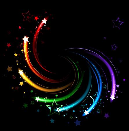 Brillantes destellos de todos los colores del arco iris de la vuelta de tuerca sobre un fondo negro Foto de archivo - 27375694