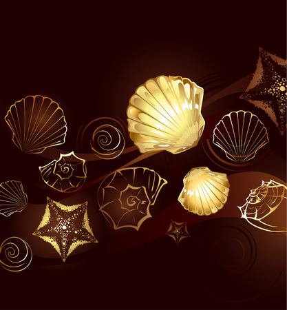 gold jewelry: brown background with gold jewelry with seashells and starfish