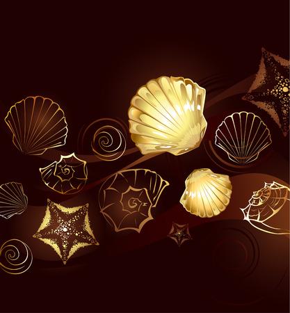 fond brun: fond marron avec des bijoux en or avec des coquillages et �toiles de mer Illustration