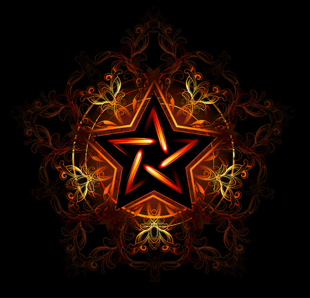 Wiccan fiery star, decorated with red pattern on a black background