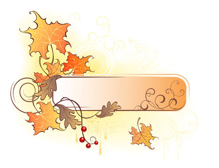 banner with the autumn leaves fall Vector