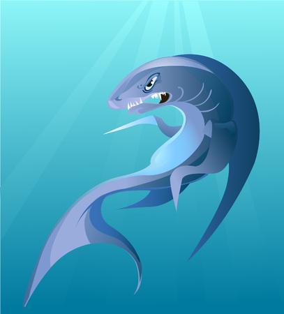 phosphorescence: big irritating shark Illustration