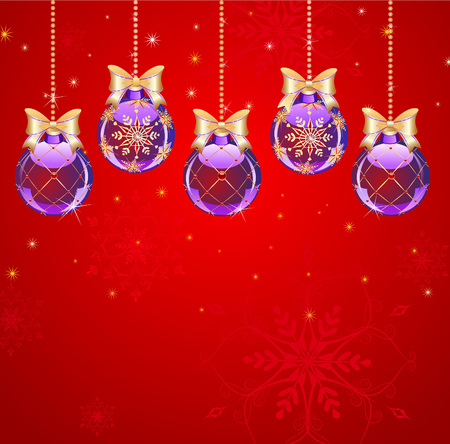 newyear: five new-year purple transparent balls with the artistic gilded pattern on red bright background