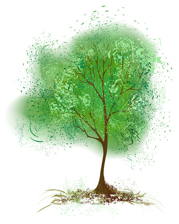 stylized tree with foliage painted with green paint on a white background         Illustration