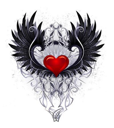 Glanzend rood hart met zwarte vleugels versierd met een patroon op een witte achtergrond