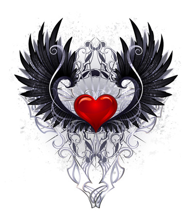 Red shiny heart with black wings decorated with a pattern on a white background
