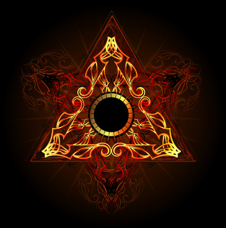 fiery: fire triangle esoteric symbol on a black background Illustration