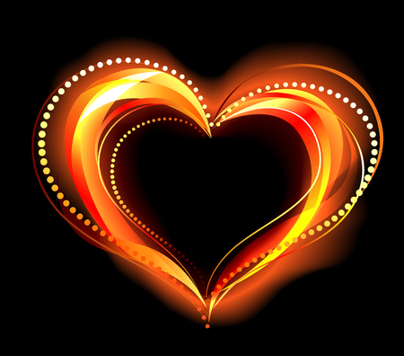 warmness: the heart of the red fire on a black background