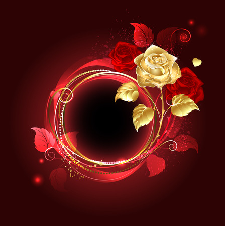 round banner with gold and red rose on red background