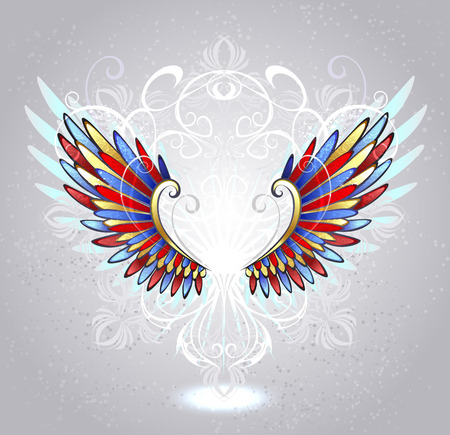 patterned: stained glass wings of red, blue and yellow glass , decorated with a white pattern on a light background   Illustration