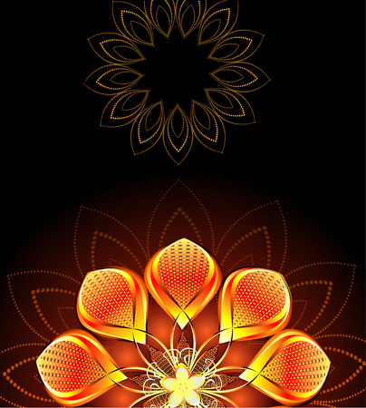 abstract, gold, bright flower on dark background Vector