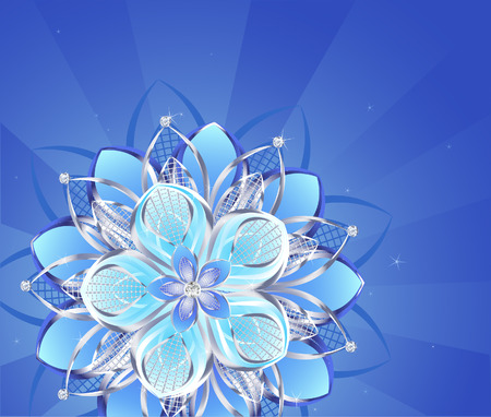 royal blue background: abstract flower jewelry from sparkling silver on a blue glowing background