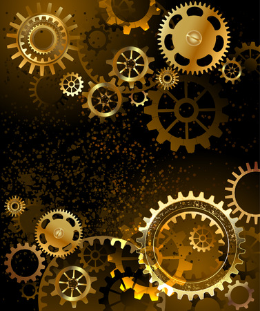 black background with gold and brass gears