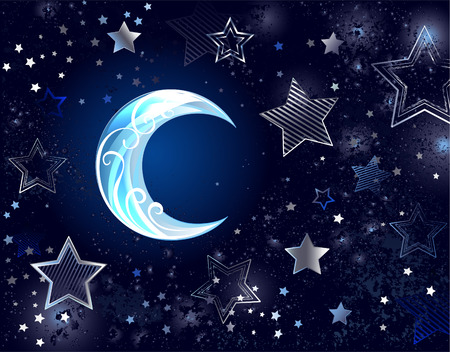 silver stars: dark night background with blue patterned silver moon and stars Illustration