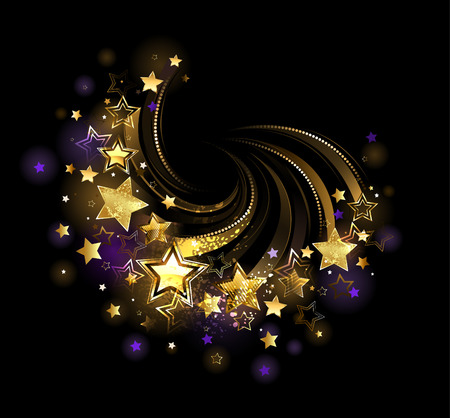 flight shiny , gold stars on a black background