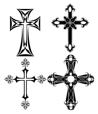 four silhouetted , black cross on a white background