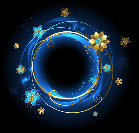 round banner with golden curls , adorned with gold abstract flowers on a blue background   Çizim