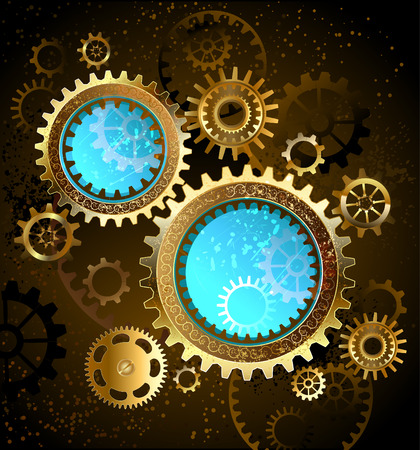 gears: two round mechanical banner blue glass with brass and gold gears