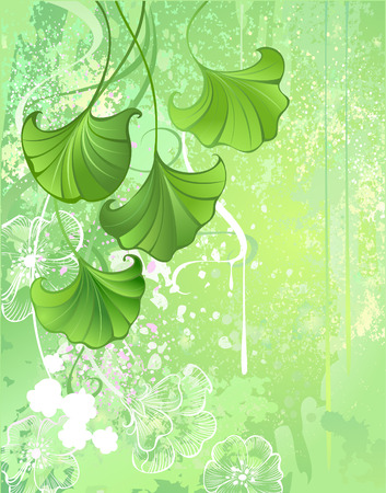 soft, textured, green, spring green background with leaves and white flowers