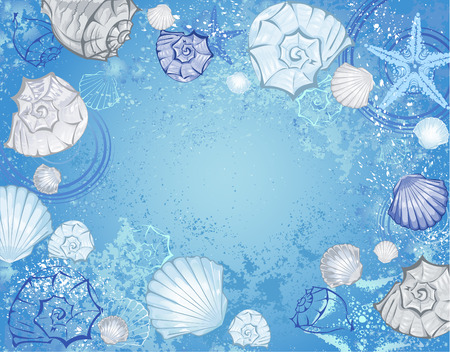 blue sea background with blue and beige seashells and starfish  Vector
