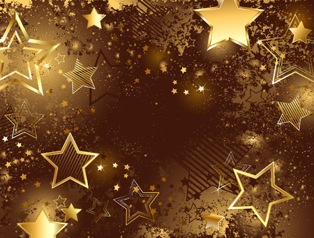 famous star: brown background decorated with sparkling texture and golden stars