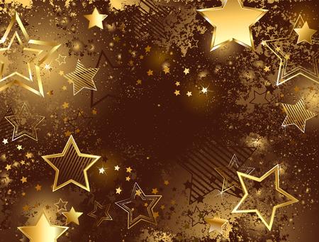 estrellas: fondo marr�n adornado con textura brillante y las estrellas de oro
