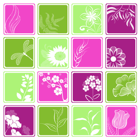 pink and green computer icons with with stylized flowers and decorative branches Vector
