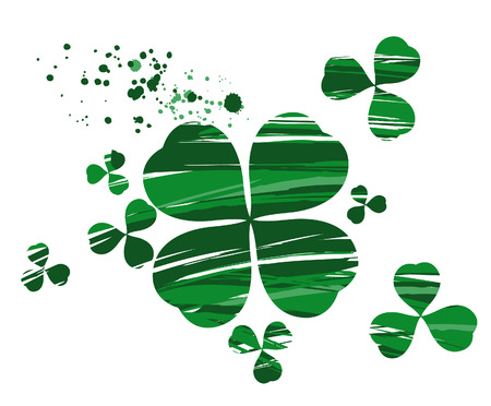 stroke of luck: clover with four leaves, painted with green paint on a white background