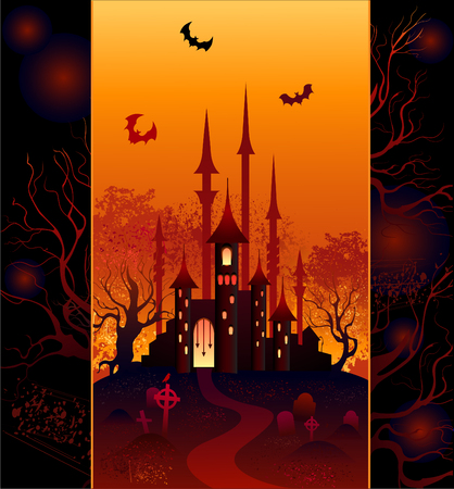 The original design for the mysterious halloween castle, forest and cemetery  Vector