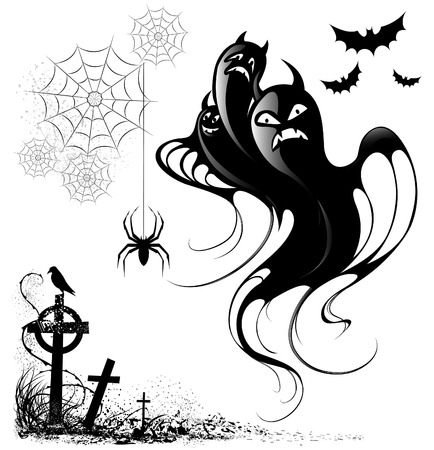 collection of silhouettes and design elements for halloween on a white background Illustration
