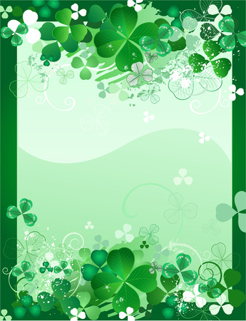 fortune flower: beautiful original design with a stylized green clover leaves with drops of paint on a green background