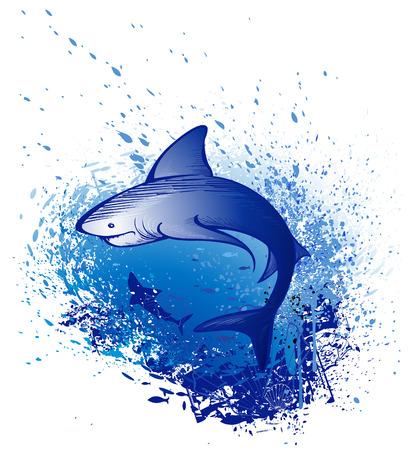 squalo bianco: Art disegnato da un grande squalo bianco nuota nel mare blu profondo
