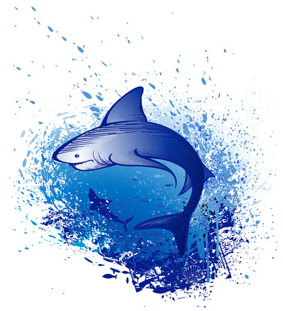 Art drawn by a great white shark swims in the deep blue sea  Vector