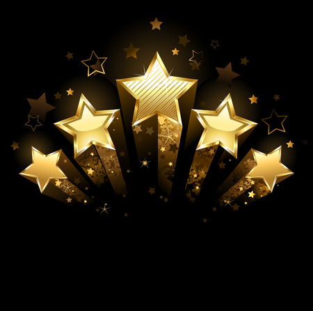 Five shining stars of gold foil on a black background