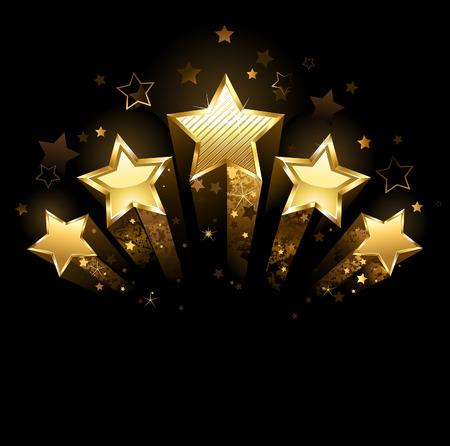 Vijf stralende sterren van goud folie op een zwarte achtergrond