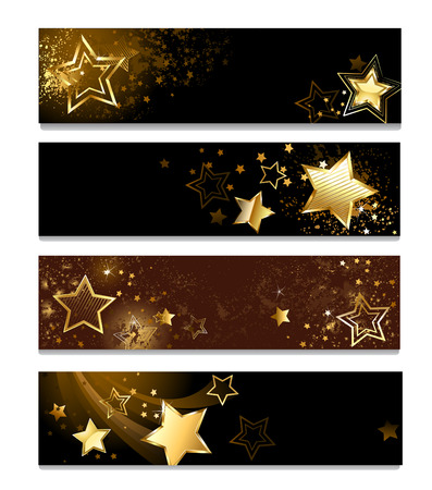 four horizontal banner with gold stars on a dark background Vector