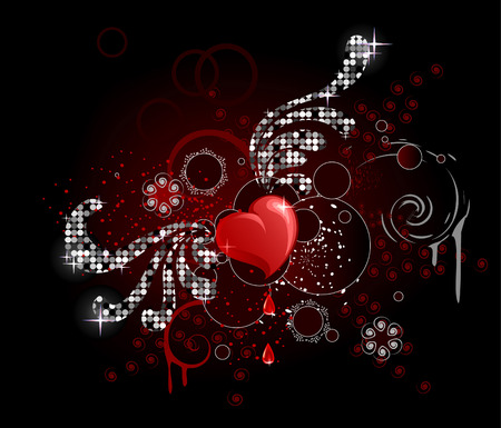 briliance: glamour smooth brilliant heart with sparkling stylized wing with frame and circles on dark shining background
