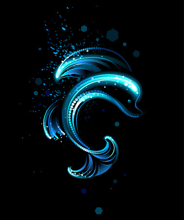 dolphin, painted with luminous paint on a black background  Vector