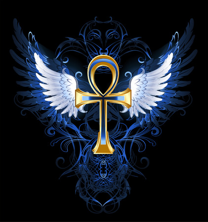cross and wings: gold ankh with white wings on a dark blue patterned background  Illustration