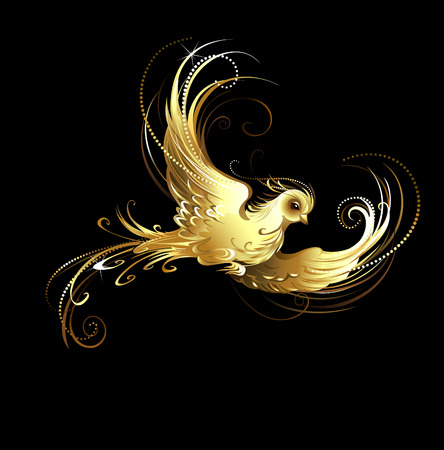 jewelry design: shiny, golden, artistically painted bird on a black background