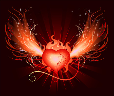 very beautiful hot,fiery, luminous heart of the phoenix with burning wing with frames and sparks on black background Vector