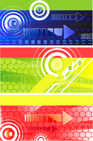 Three horizontal technology banner with red, dark blue and green background, with a cellular pattern, symbols and arrows abstract circles  Vector
