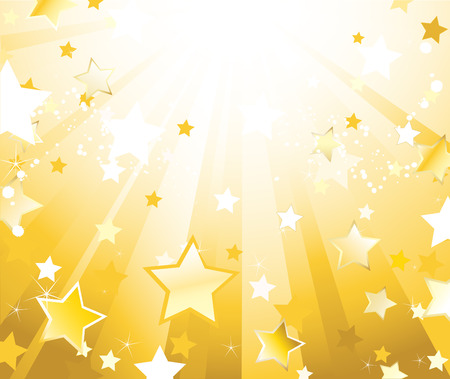 light gold background with illuminated direct rays of gold and sparkling stars, splodgy drops of white paint