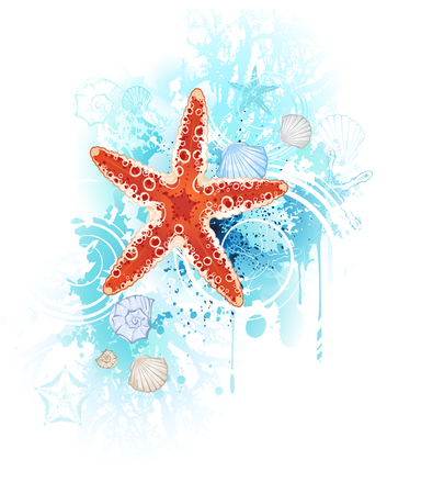 artistically painted red starfish with sea shells and coral blue on a white background
