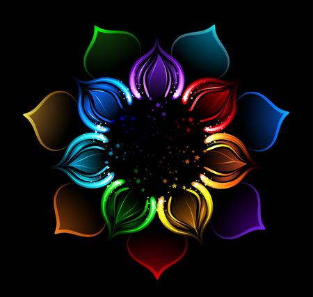 con pétalos radiantes de una flor de loto, pintado chispas brillantes sobre un fondo negro Vectores