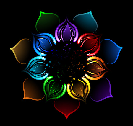 karma design: with iridescent petals of a lotus, painted bright sparks on a black background Illustration