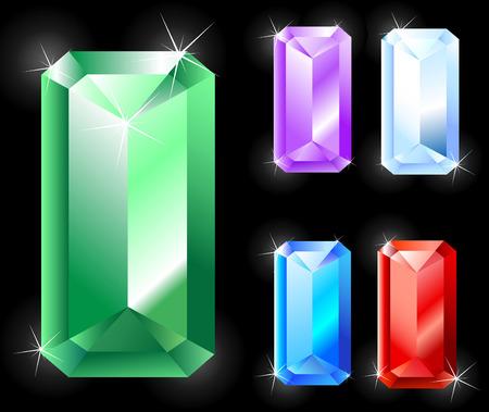amethyst: Gems rectangular, elongated cut  emerald, ruby, amethyst, sapphire  Illustration