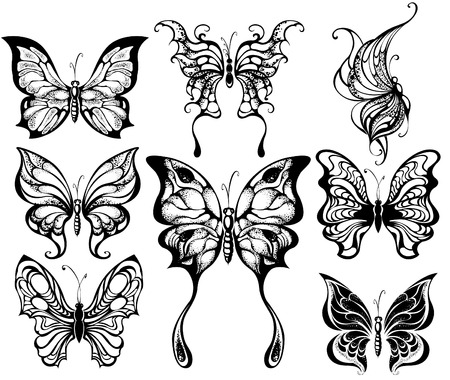 artistically: artistically painted silhouettes of exotic butterflies on a white background  Illustration