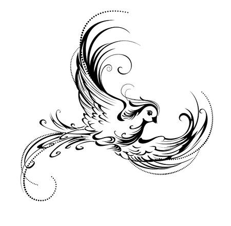 tatouage oiseau: artistiquement peint, contour oiseau sur un fond blanc Illustration